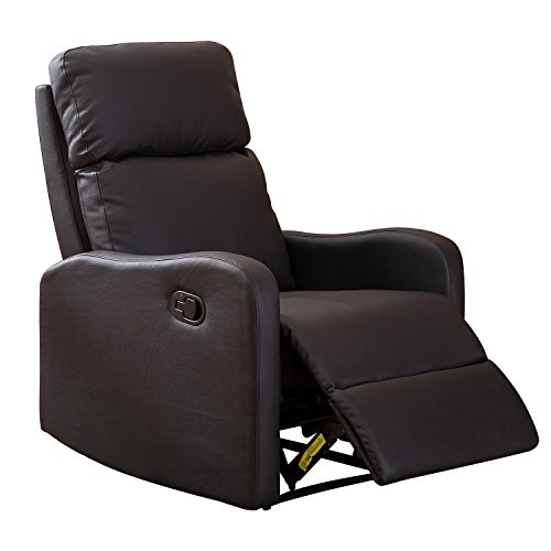 BONZY Recliner Chair Contemporary Black Leather Recliner Chair for Modern Living ()