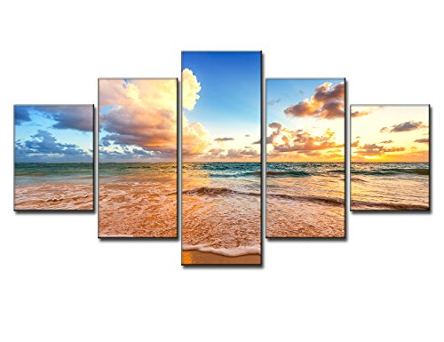 Sunset Beach Scene Seascape Landscape Picture Modern Paintin