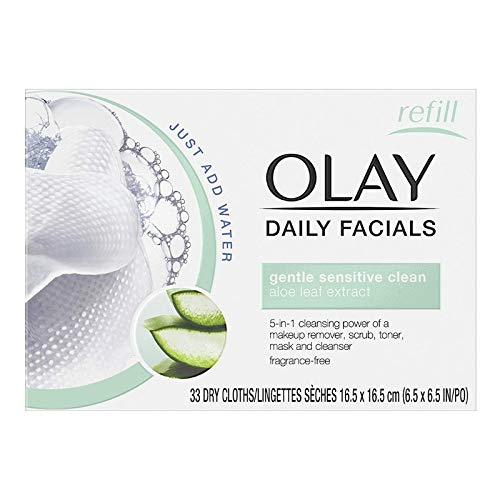 OLAY Daily Gentle Clean 5-in-1 Water Activated Cloths, 33 Ea (Pack of 10)