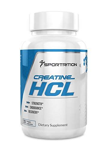 CREATINE HCL 750 mg, 120 Count CREATINE HYDROCHLORIDE CAPSULES with BIOPERINE 750mg , pre workout by Sportrition