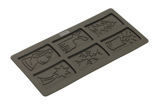 Lurch Germany Flexiform Silicone 5.9 x 11.8 Inch Spekulatius Christmas Cookie Mold, Brown