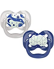 Dr. Brown's Advantage Baby Pacifiers, Glow-in-The-Dark, 0-6 Month Pacifiers, Blue, 2 Count
