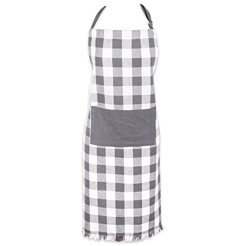 DII Cotton Adjustable Chef Apron with Pocket and Extra Long Ties, Woven Heavyweight Men and Women Fringed Kitchen Apron for Cooking, Baking, & BBQ - Gray, Check Plaid