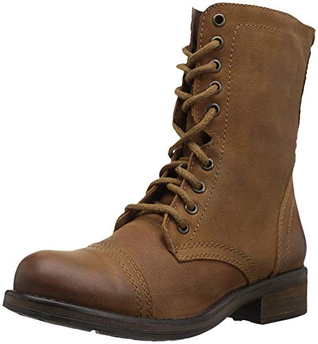 Steve Madden Women's Tropa2-0 Combat Boot Cognac Leather