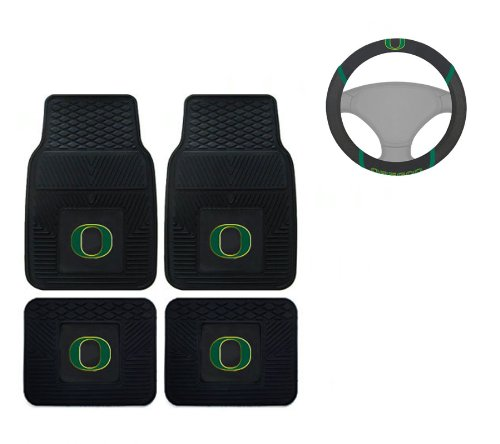A set of 5 Piece Automotive Gift Set: 2 Front and 2 Rear All Weather Floor Mats and 1 Wheel Cover - University of Oregon Ducks -