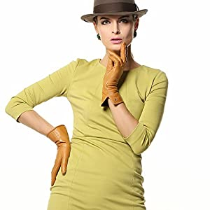 ELMA Nappa Leather Gloves Thinsulate+ Fleece Lined Contrast Piping Gold Plated Logoelma Nappa Leather Gloves Thinsulate+ Fleece Lined Contrast Piping Gold Plated Logo (L, Sand Yellow)