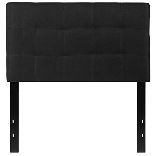 Flash Furniture Bedford Tufted Upholstered Twin Size Headboard in Black Fabric (Black Twin Headboard)