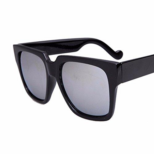 claro de Silver de negro square retro sol sol box XIAOGEGE Gafas personalidad big box redonda big gafas cara T5wxOqanz