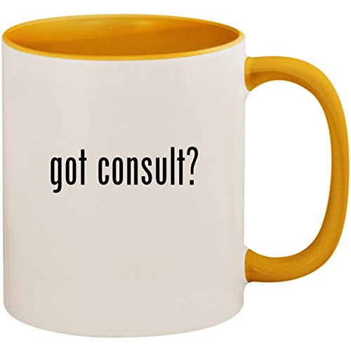 got consult? - 11oz Ceramic Colored Inside and Handle Coffee Mug Cup, Golden Yellow -