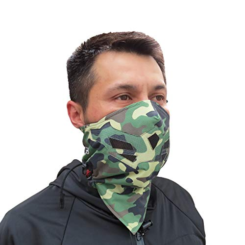 Half Face Mask for Cold Winter Weather. Use This Half Balaclava for Snowboarding, Ski, Motorcycle. (Many Colors) (Camo- Green)