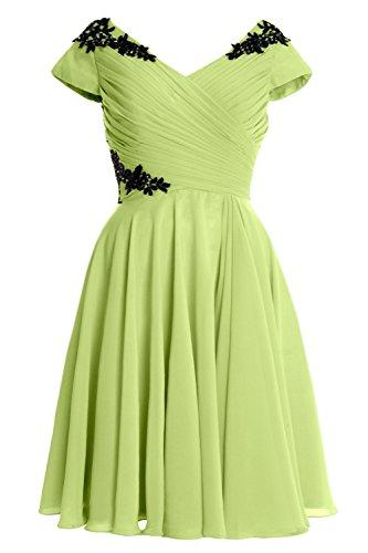 MACloth Elegant Cap Sleeve Short Mother of Bride Dress Cocktail Formal Gown Pistachio
