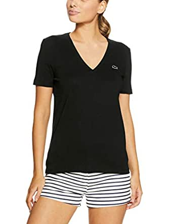 Lacoste Women Basic V Neck Tee, Black, 36F (AU 8)