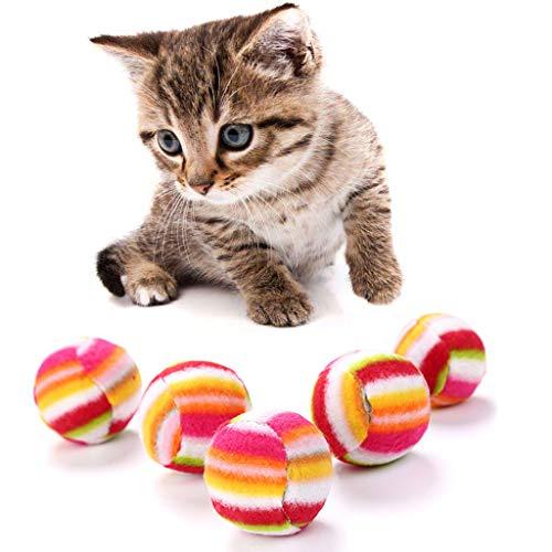 (ForHe 5pcs Cloth Ball Cat Toy Soft Rainbow Play Balls Interactive Kittens Pet Toys)