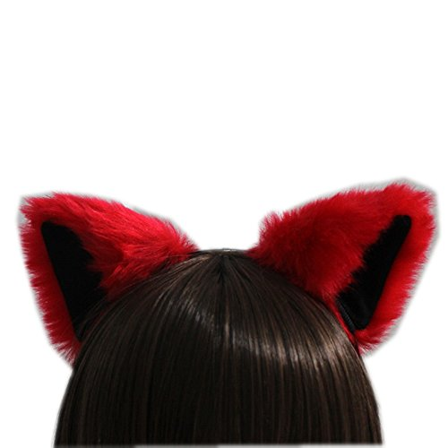 Quick And Easy Costumes To Make (E-TING Cat Fox Long Fur Ears Anime Cosplay Headband Halloween Cosplay Party Costume(Red with Black inside))