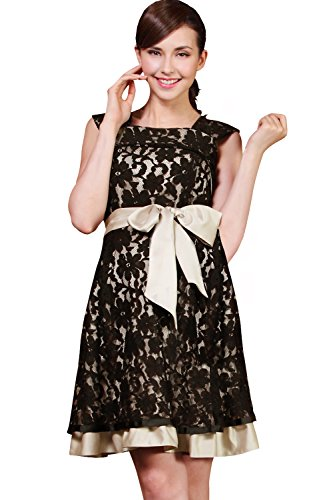 Sweet Mommy Layered Lace Maternity and Nursing Formal Dress Black, L by Sweet Mommy