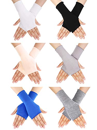 (Bememo UV Protection Sleeves Gloves Wrist Length Sun Block Driving Sleeves Gloves Unisex Fingerless Sleeve (Color 1, Wrist Length))