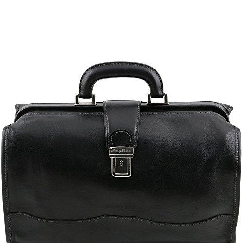 Tuscany Leather - Sac médical Raffaello en cuir miel Tl10077 / 3 noir