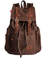 Rucksack Thick Canvas Backpack School Bag Great for School and Camping with Genuine Leather Straps B1039 Dark...