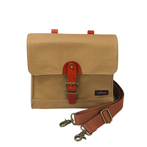Tourbon Canvas Cycling Bike Handlebar Bag Bicycle Saddlebags Shoulder Messenger Storage (Khaki) (Handlebar Pump)