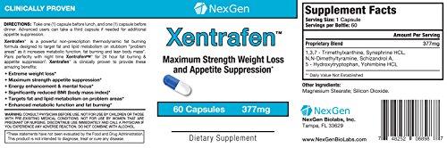 Xentrafen- avancée pilules formule de régime pour la perte de poids et la suppression de l'appétit. Suppression de l'appétit incroyable et perte de poids avec l'énergie durable, la concentration et l'humeur coup de pouce! - 60 Capsules 377mg
