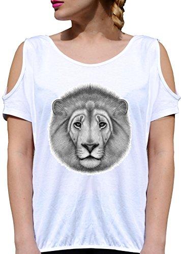 T SHIRT JODE GIRL GGG27 Z1629 LION CARTOON WILD ANIMAL PORTRAIT MINIMAL FASHION COOL BIANCA - WHITE XL