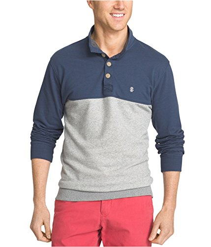 IZOD Mens Colorblocked Henley Shirt, Grey, X-Large