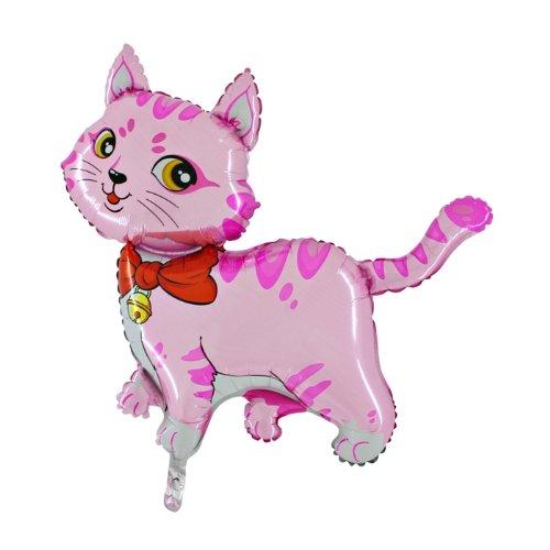 "44 ""Rose de chat avec un arc et Bell aluminium ballon d'hélium (CS9)"