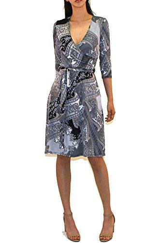 Vivicastle Women's Printed V-Neck 3/4 Sleeve Faux Wrap Waist Tie Midi Dress (D6, blk/Gry, Large)