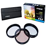 Polaroid Optics 43mm 3 Piece Special Effect Camera/Camcorder Lens Filter Kit (Soft Focus, Revolving 4 Point Star, Warming)