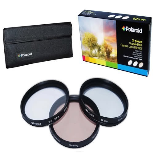 Polaroid Optics 58mm 3 Piece Special Effect Camera/Camcorder Lens Filter Kit (Soft Focus, Revolving 4 Point Star, Warming)