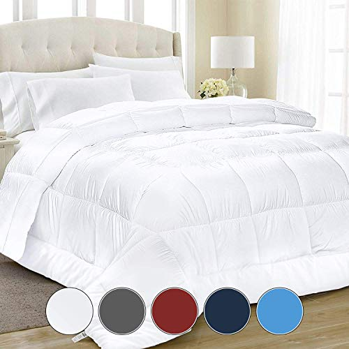 Equinox All-Season White Quilted Comforter - Goose Down Alternative Queen Comforter - Duvet Insert Set - Machine Washable - Plush Microfiber Fill (350 GSM) ()