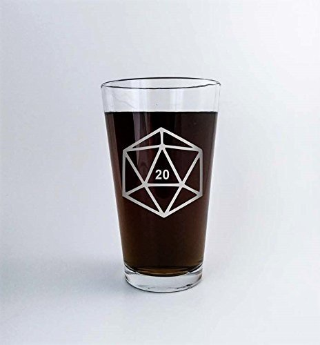 - Game Dice Polyhedral D20 DM Dungeon Master Gift | Etched Beer Glass Pint