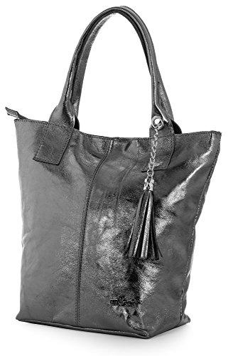 LIATALIA Womens Genuine Italian Soft Leather Large Tote Shopper Tassel and Pouch Shoulder Handbag - AURORA Metallic - Deep Grey