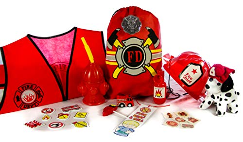 Boundless Gifts Firefighter Toy Gift Set - Fire Hat and Vest, Badge, Plush Dalmatian, Fire Truck, Fire Extinguisher, Fire Hydrant Cup, Bookmark, Lollipop, Stickers, & Tattoos in a Drawstring Bag