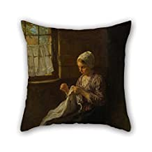 Oil Painting Jozef Isra?ls - The Young Seamstress Throw Pillow Covers 16 X 16 Inches / 40 By 40 Cm Best Choice For Floor Son Him Relatives Car Seat Coffee House With Double Sides