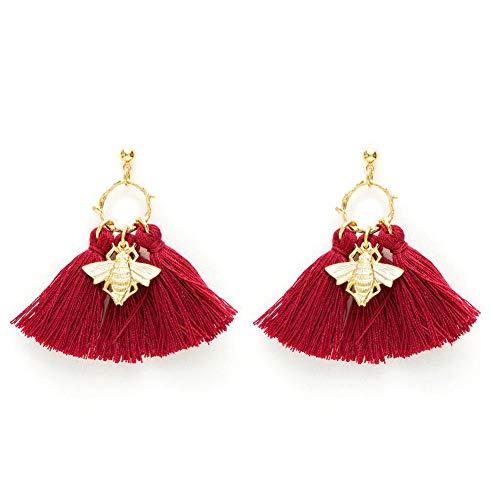 Earrings Pierced Lucite (Fashion Big Circle Crystal Tassel Earrings Openwork Bee Style Dangle Stud Earrings)