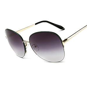 Sunglasses ladies round metal half frame ultra-light frame sunglasses 5803 color retro sunglasses,4
