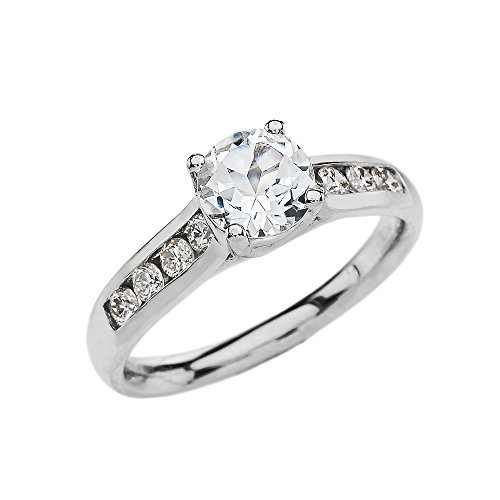 Channel-Set Diamond 14k white Gold Engagement Proposal Ring With 1 Carat White Topaz Solitaire Centerstone (Size 7)