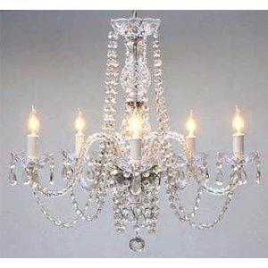 "New! AUTHENTIC ALL CRYSTAL CHANDELIERS H25"" X W24"" SWAG PLUG IN-CHANDELIER W/ 14' FEET OF HANGING CHAIN AND WIRE!"