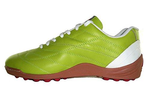 AGLA - Zapatillas de fútbol sala de Piel para hombre Verde