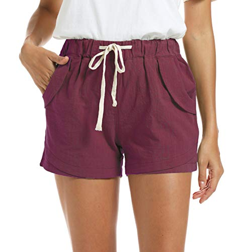 NEWFANGLE Women's Cotton Linen Causal Shorts Comfy Beach Short Drawstring Elastic Waist Shorts,WineRed,XL