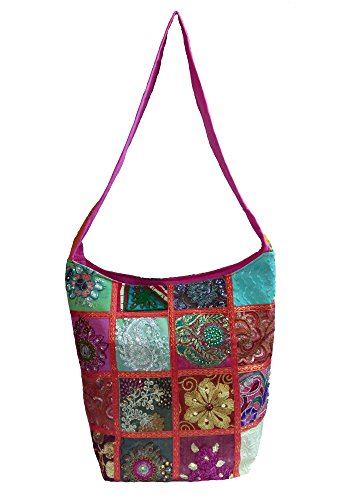 Embroidered Sari Pink Decorative Sequin body Cross Indian Patch Shoulder Bag pwPqCpO