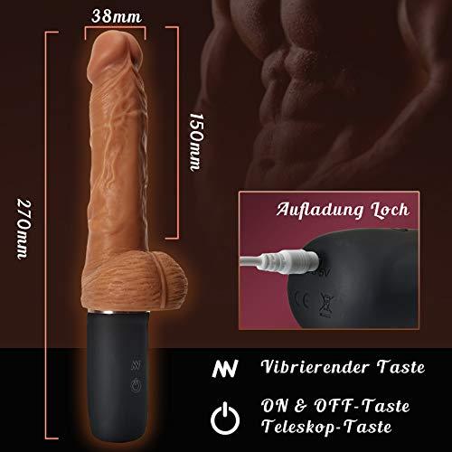 Fondlove Realistische Vibratoren mit Stoßfunktion Realistischer Dildo Erotik Sexspielzeug für Frauen mit Griff Weich Wasserdicht 9 Vibrationsmodi 3 Stoß-funktion