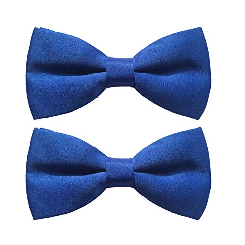 (Men's Classic Pre-Tied Satin Bow Ties, 2 Packs Formal Tuxedo Bowtie Adjustable Length for Adults and Children (Blue, 2))