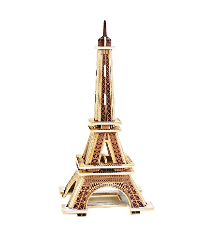 PONTE COLLECTION Eiffel Tower Model Kit 3D Puzzles Architecture Wooden Building Kit Wood Building Models Wooden Model Kits 22-pcs]()