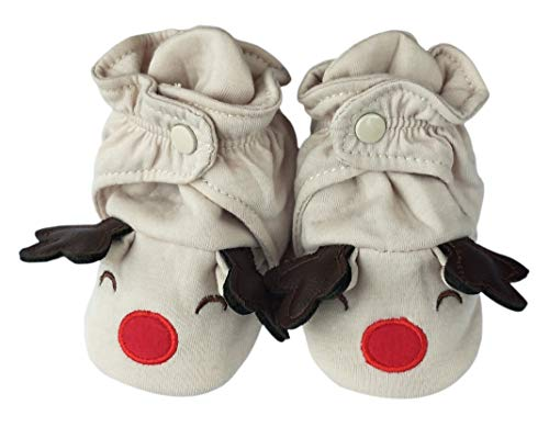RATIVE Cotton Booties with Grippers for Baby Infant Toddler Boys Girls (Medium (6-12 Month), Ivory) from RATIVE