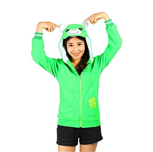Gaine Coat Automne Printemps Vert Capuche Mode Sweat Capuchon Manteau A lgant Capuche Imprim Femme Sweat Longues Costume Caline Outerwear Manches Panda dqwn1US