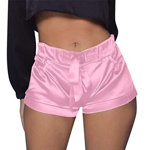 (Botrong Women Sexy Satin Pants Summer Casual Shorts High Waist Short Beach with Pocket (Pink,M))