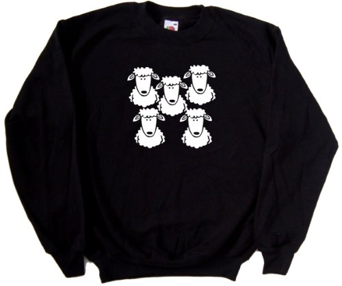 Flock Of Sheep Black Sweatshirt (White print)-XXX-Large (Flock Jumper)