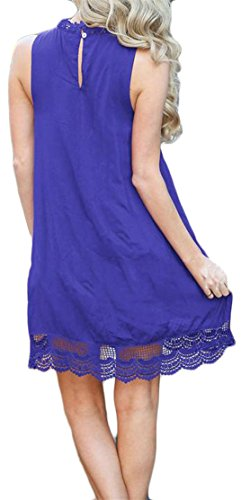 Mini Blue Sleeveless Pleated Cromoncent Dress Swing Women's Lace Hollow Casual wxqR01g